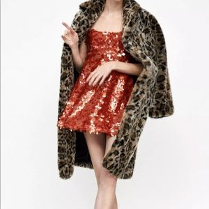 d8714820c34 Zara Sequin A-Line Spaghetti Straps Party Dress